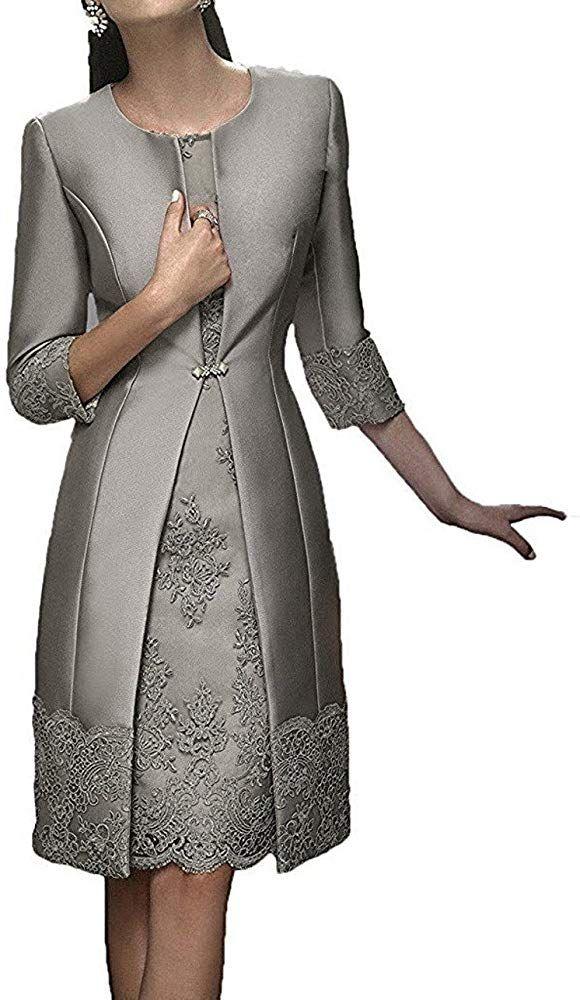 Charmant Damen Damen Silber Grau Elegant Langarm Knielang ...