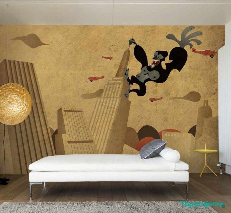 Fototapeta Smart Deco 39A  / super cartoon gorilla city wallpaper