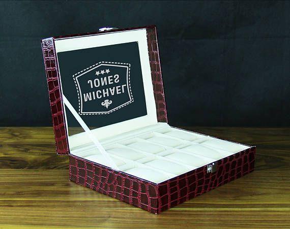 Personalized watch box, 10 holders brown - Best man gift, Boyfriend gift, Men's gift, Anniversary gift, Godfather gift, Customized watchbox