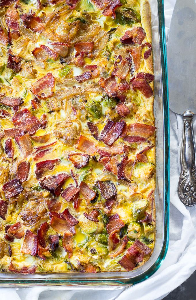 This Whole30 Paleo Breakfast Casserole is loaded with roasted sweet potatoes and brussels sprouts, caramelized onions, bacon and eggs.