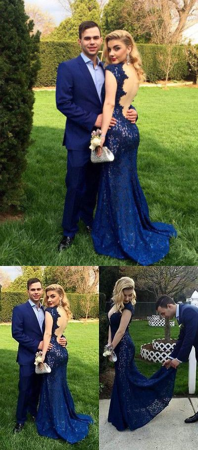 Prom dress 2016,Lace prom dress,Backless prom dress,Mermaid prom dress,Sexy Prom dress,Long prom dress,Navy Blue prom dress,