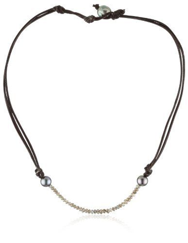 "Kala Champagne Diamonds and Tahitian Pearls on Leather Necklace Kala. $4460.00. Claps in the back with pearl for closure. Made in USA. Length of necklace: 16-17"". Champagne raw cut diamonds and two Tahitian pearls on double leather. Delicately strung on silk cord"