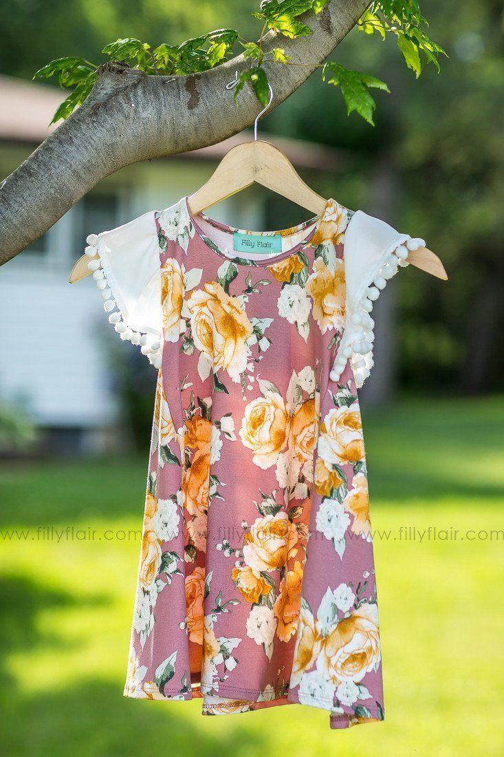 KIDS: MAUVE Floral Printed Dress w/ Pom Pom Short Sleeves