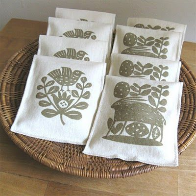 block print sachets. unusual way of promoting. could be good for food products or tea maybe