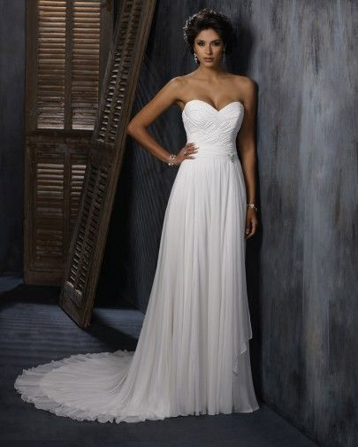Strapless and Sweetheart Neckline Gossamer Chiffon with Beaded Embellishments Lace Up Beach Wedding Dress