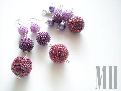 Kolczyki i zawieszka - kulki w kolorze fioletowym | MH Biżuteria - cuda ręcznie wykonane
