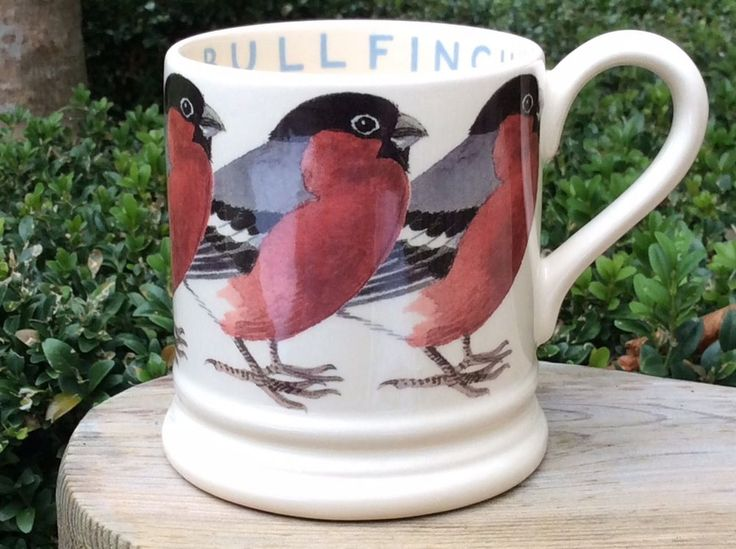 EMMA BRIDGEWATER rare Original • Birds • Bullfinch • 1/2 pint MUG