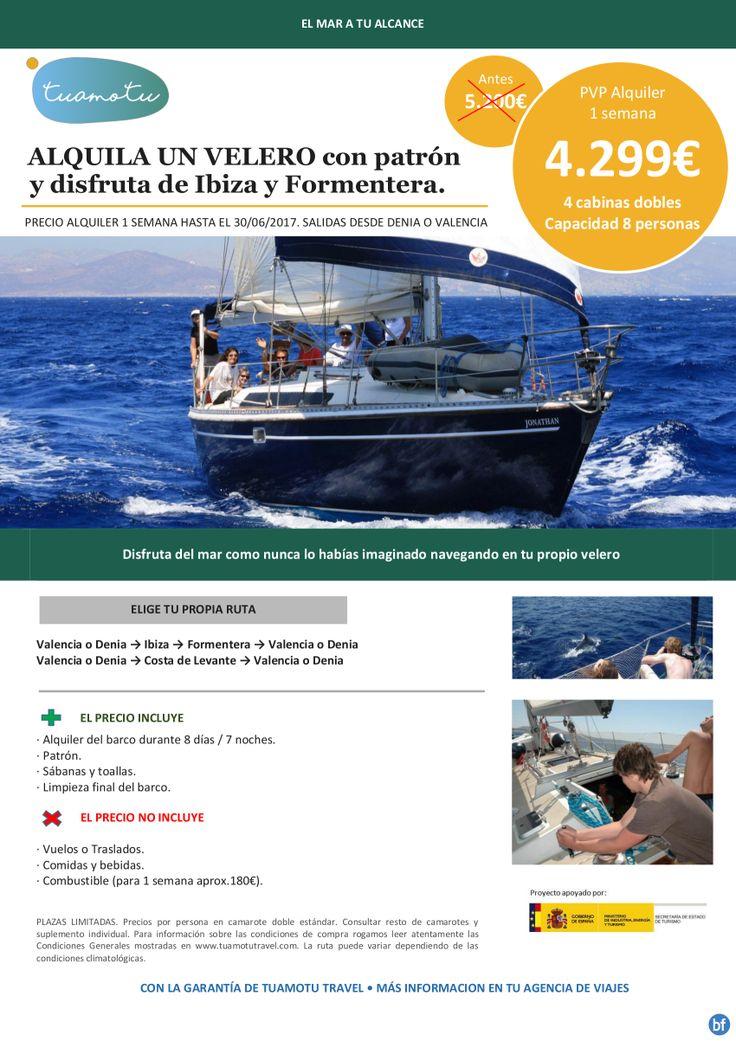 Ibiza y Formentera Súper oferta alquiler velero con patrón 8 pax 1 semana hasta junio desde 4.299€