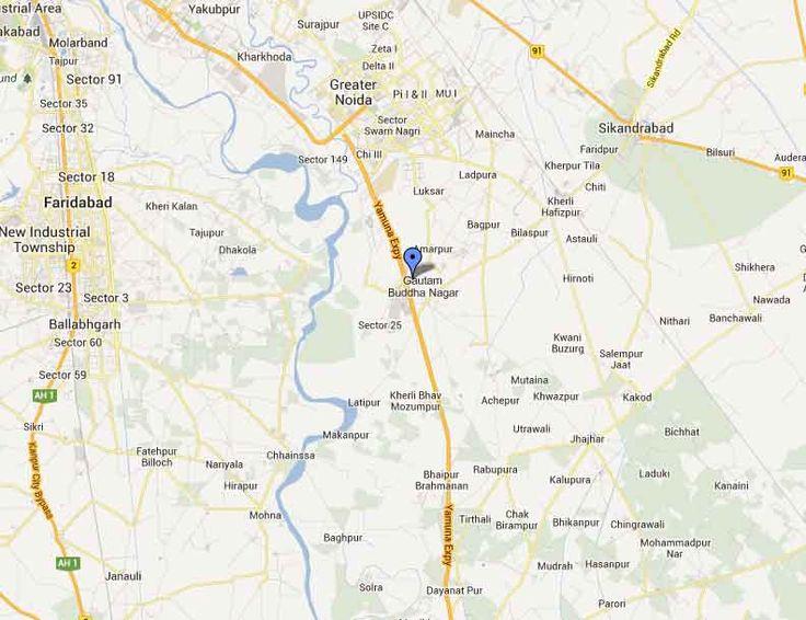 Gaur Yamuna City Location Map by IndiaPropertyZone.com