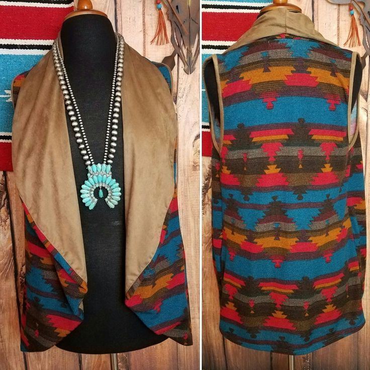 COWGIRL gYPSY AZTEC BLANKET print SOUTHWEST VEST Cardigan Top Western LARGE #22nd #vest