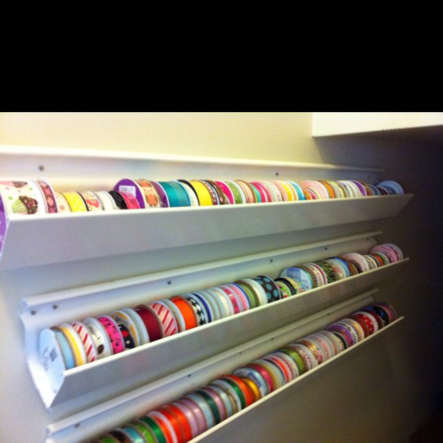Ribbon storage with plastic rain gutter-this is how I store my spools of ribbon