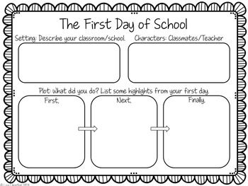Back to school activities: FREE The First Day of School graphic organizer writing prompts.