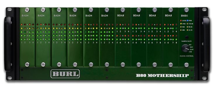 Burl Audio B80 Mothership  Introducing the B80 MOTHERSHIP, the multi-channel version of Burl Audio's critically acclaimed B2 Bomber ADC and DAC. Pushing the boundaries once again, the Burl Audio B80 Mothership AD/DA converter has up to 80 channel capability.