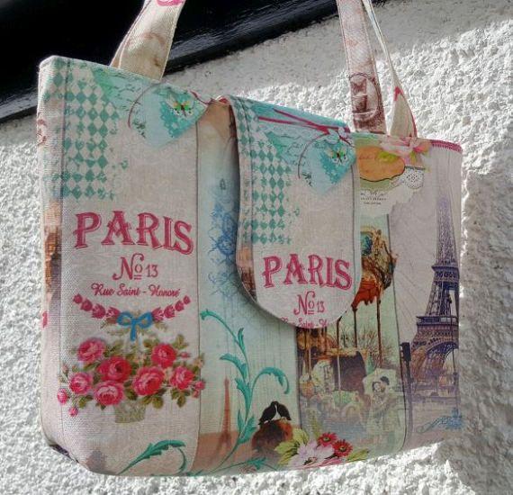 Large handmade handbag  Paris themed fabric. by CarolFleetDesigns