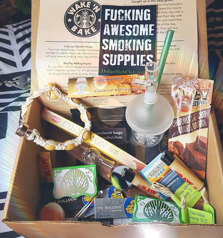 Got an amazing surprise of goodies in the mail today from @dollar_high_club!  Dollar high club is a monthly stoner subscription box for only $30 a month. And you get all that you see here  A Starbucks dab cup w/ bowl and dome and a stealthy bracelets pipe! As well as endless flavored papers flavored blunt wraps raw lighters hemp smell proof bag silicone containers incense and an incense holder!  Definitely one of the best monthly boxes I've ever gotten! Go follow them and sign up for your…