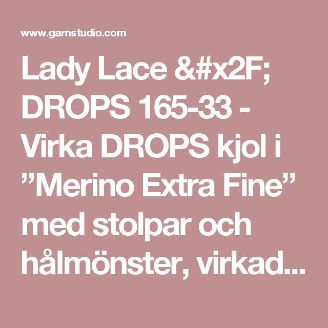 """Lady Lace / DROPS 165-33 - Virka DROPS kjol i """"Merino Extra Fine"""" med stolpar och hålmönster, virkad uppifrån och ned. Stl S-XXXL - Gratis mönster från DROPS Design"""