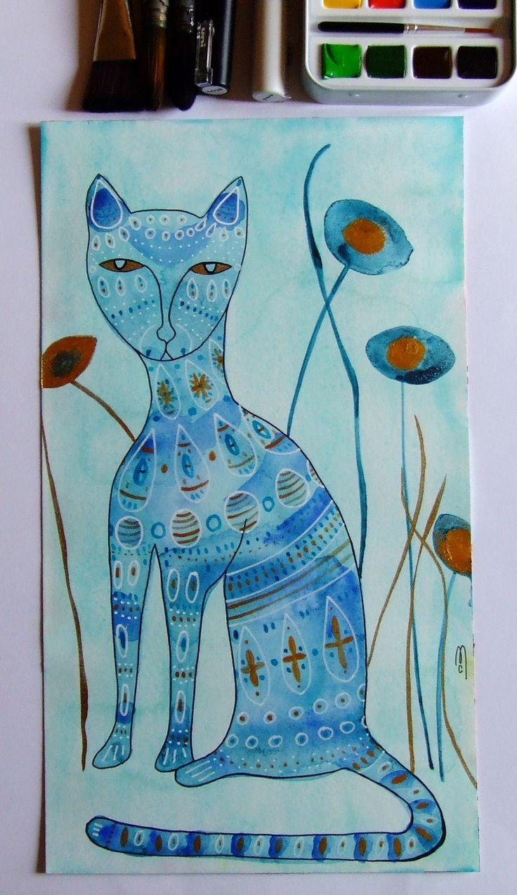 Chat bleu peinture chat art chat dessin animal paysage fleurs décor art : Peintures par celine-artpassion