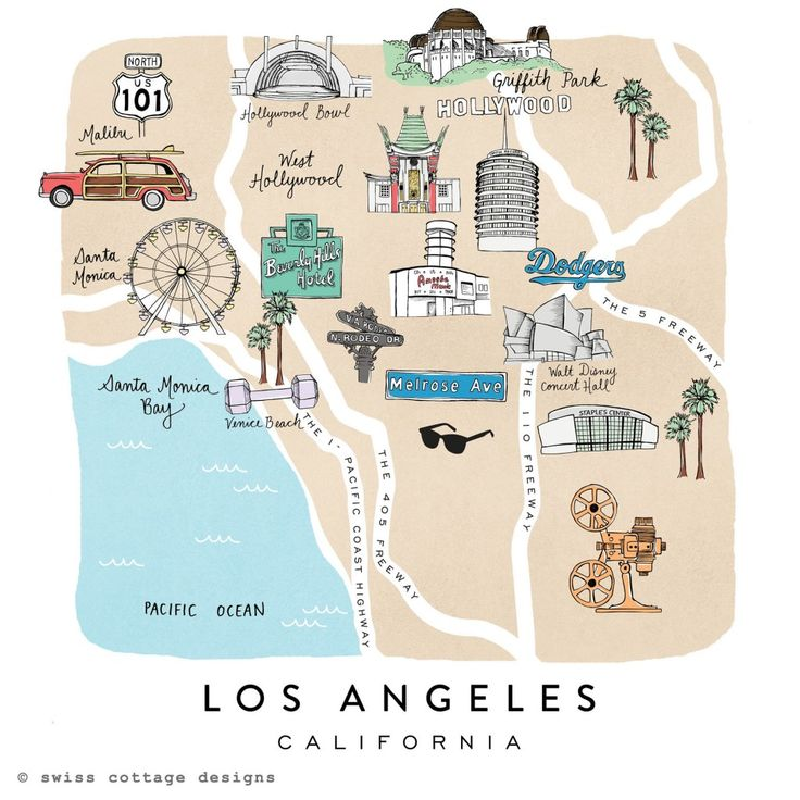 Everything you need to know about Los Angeles in one simple map Swiss Cottage Designs - Los Angeles
