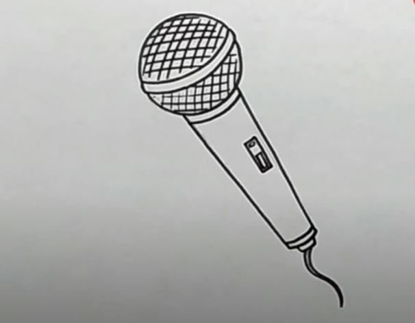 How To Draw A Microphone Step By Step Microphone Sketch Drawing Tutorial Easy Microphone Drawing Easy Drawings