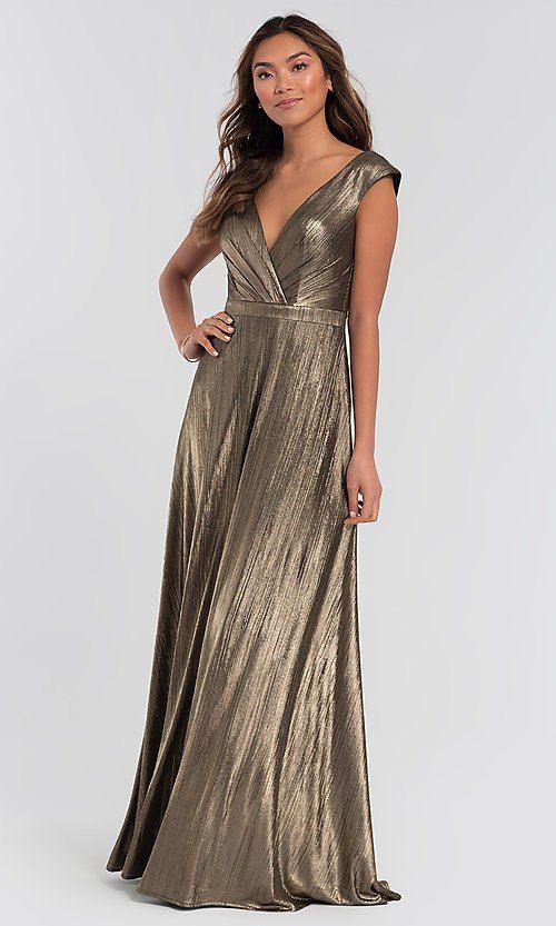 0e67a3e7105a ... Wedding Dresses 1 2. Image of v-neck long metallic Kleinfeld bridesmaid  dress. Style: KL-200064 Front Image