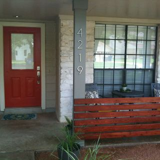 Modern front porch all cement red door <3