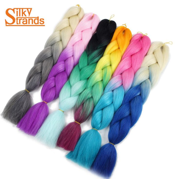 Silky Strands Ombre High Temperature Fiber Synthetic Jumbo Braiding Hair For Box Crochet Braids Hair Extensions 24inch 100g #Affiliate