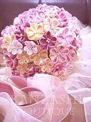 kanzashi folded fabric flower bouquet