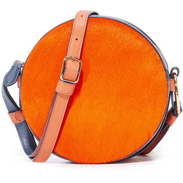 Diane Von Furstenberg Circle Bag ($298) ❤ liked on Polyvore featuring bags, handbags, shoulder bags, orange shoulder bag, shoulder strap bags, orange purse, strap purse and orange handbags