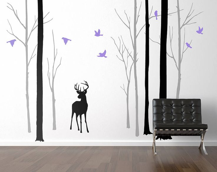 Deer In The Forest Black/Grey Wall Sticker