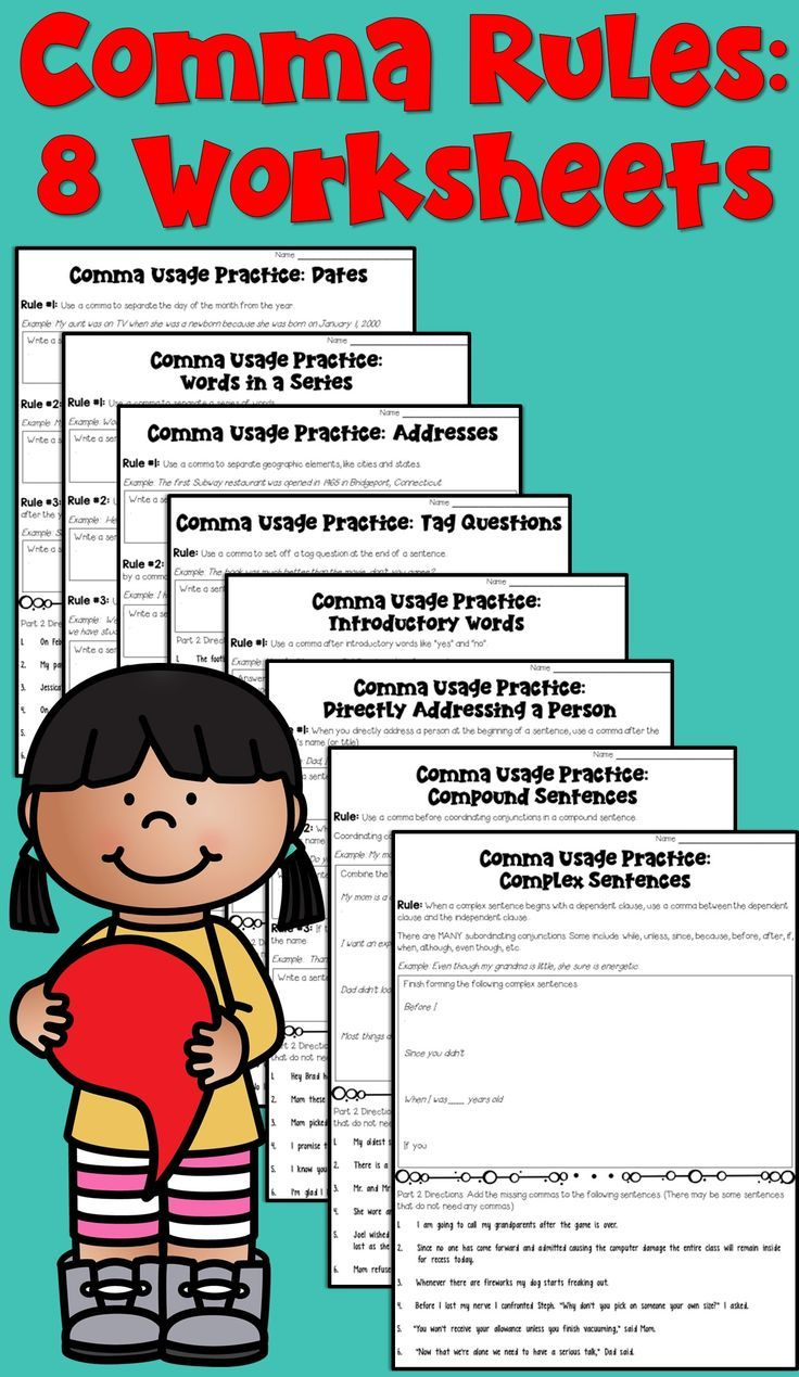 Comma Rules Worksheet Packet These 8 Worksheets Focus On Analyzing 9 Common Comma Rules Homeschool Language Arts Language Arts Lessons Teaching Language Arts