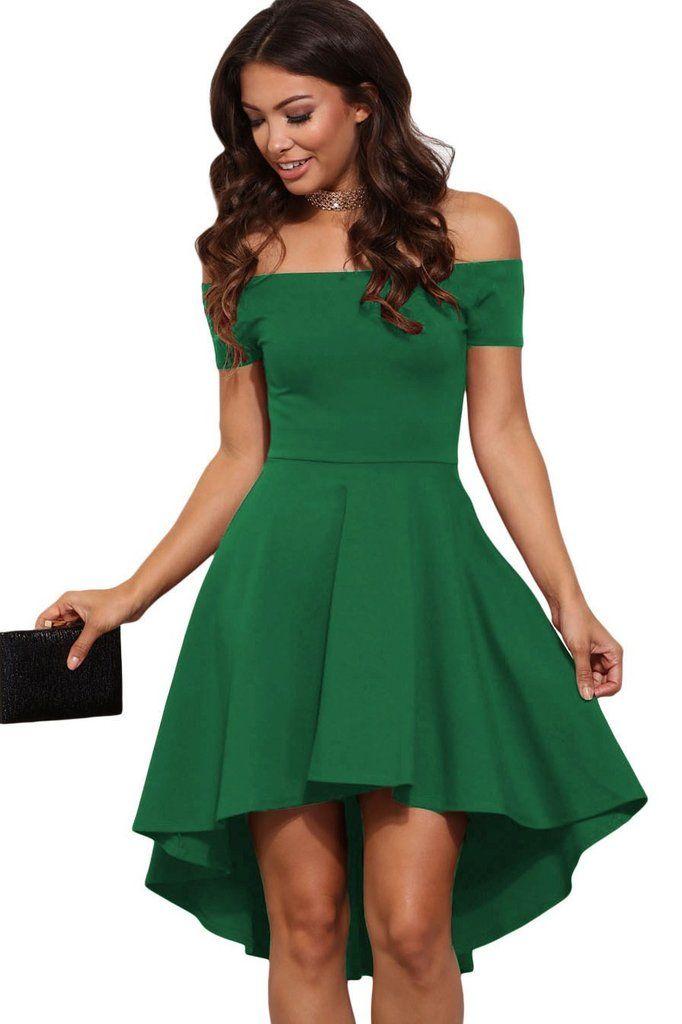 Green All The Rage Off Shoulder Skater Dress MB61346-9 – ModeShe.com
