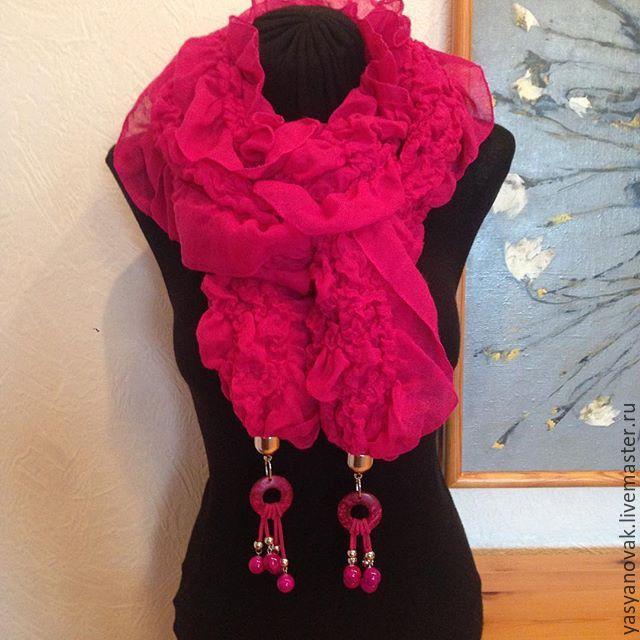 Купить Шарф с рюшами из шерсти и шелка с бусинами № 3 - шарф, оригинальный, необычный, тренд