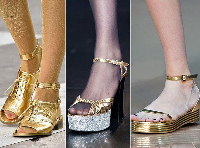 Блестящая обувь - тенденции весна -лето 2015