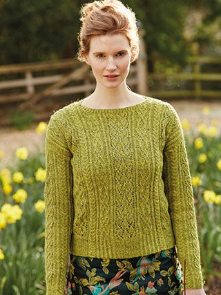 DAFFODIL from Springtime Collection Six by Marie Wallin 8 handknit designs for women by Marie Wallin. A beautiful trans-seasonal collection of quintessential feminine knitwear featuring floral intarsias, fairisles, subtle lace and twisted stitch textures. Mainly using Rowan Felted Tweed, this collection is the ideal solution to the problem of what to wear on a sunny spring day when it's still chilly outside | English Yarns http://englishyarns.co.uk/rowan-marie-wallin-springtime.html