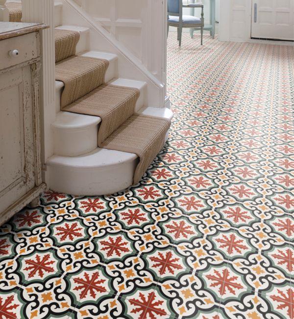 Salisbury encaustic pattern tile. Colourful encaustic tiles that look great as a hallway floor.