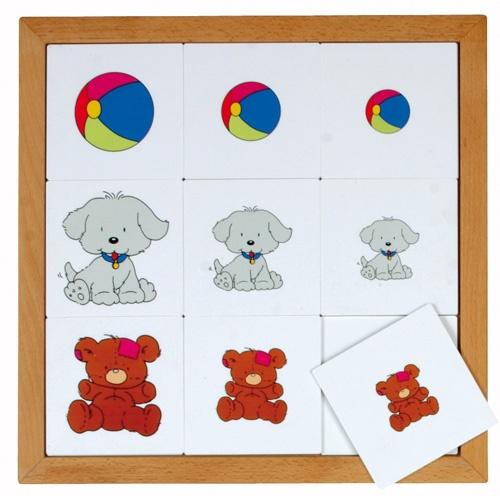 --- Begrippenlotto van groot naar klein --- Speciaal ontwikkeld voor kinderen van 2-5 jaar. Acht eenvoudige lotto's, passend bij de belevingswereld van deze leeftijd. Alle spellen zijn gemaakt van 2,5 mm kunststof en per spel verpakt in een beukenhouten inlegraam. Alle 8 lotto's samen passen in de puzzelkast 34. Formaat: 34 x 34 cm. 523 010