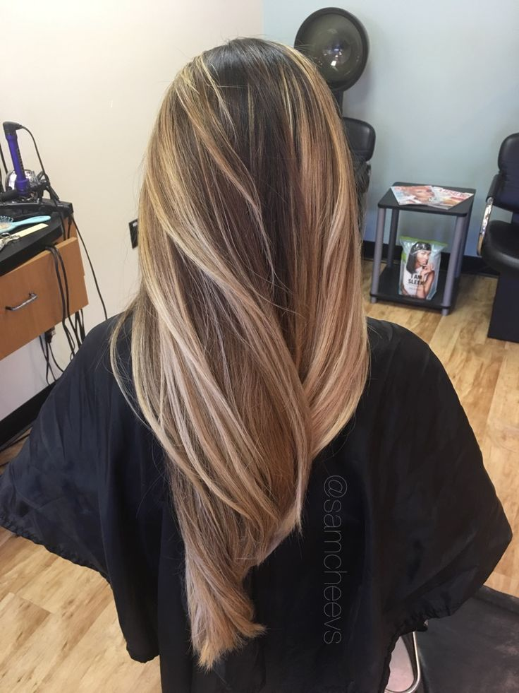 Warm golden honey sandy platinum medium blonde balayage ombré highlights for long dark brown black hair types // Indian / Asian / Midwestern / middle eastern / Latina