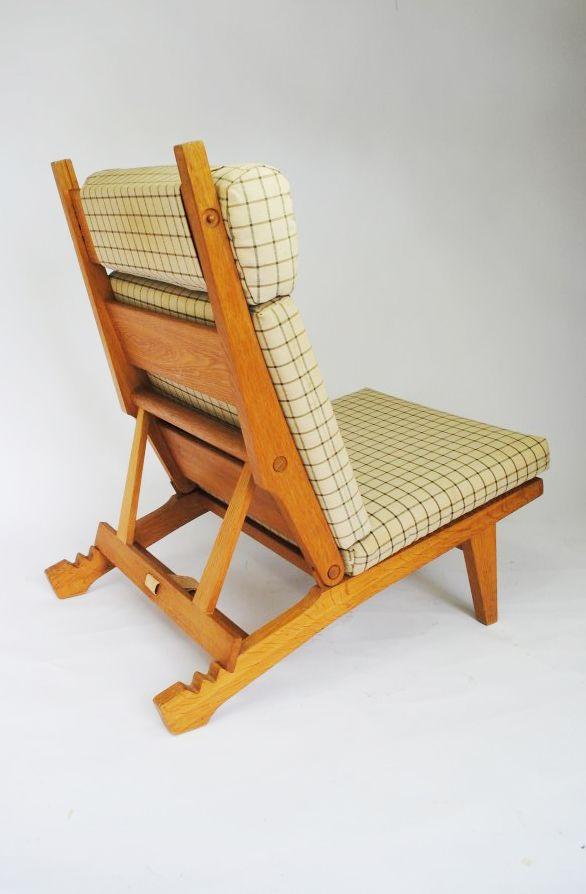 Hans Wegner; #AP71 Oak and Cord Folding Lounge Chair for AP Stolen, 1968.
