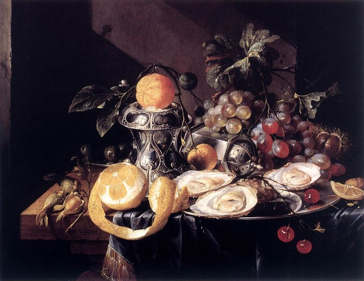 Still-Life with Oysters, Lemons and Grapes Cornelis de Heem  1660s. This painting was chosen for this collection because it is a breakfast still-life that features a peeled lemon in the foreground which had a moral meaning to the people of this time.