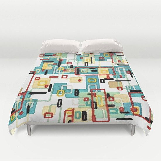 Abstract Mid Century Modern Duvet Cover  Mod  by TinaCarroll