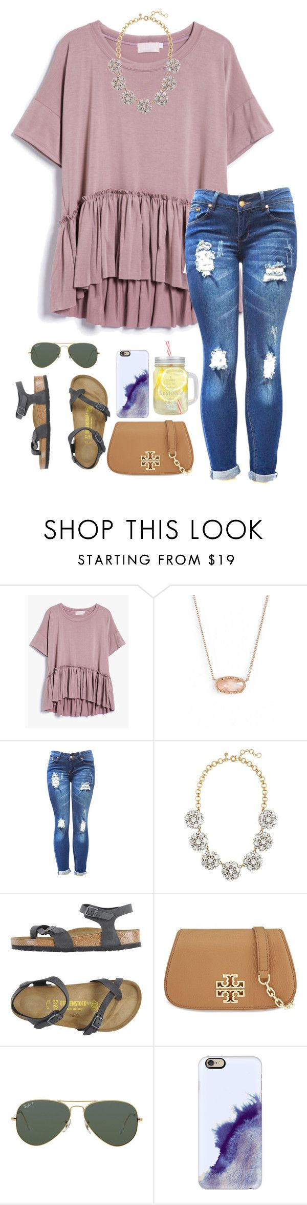 """Happy Sunday!"" by sassysouthernprep99 ❤ liked on Polyvore featuring Kendra Scott, J.Crew, Birkenstock, Tory Burch, Ray-Ban and Casetify"