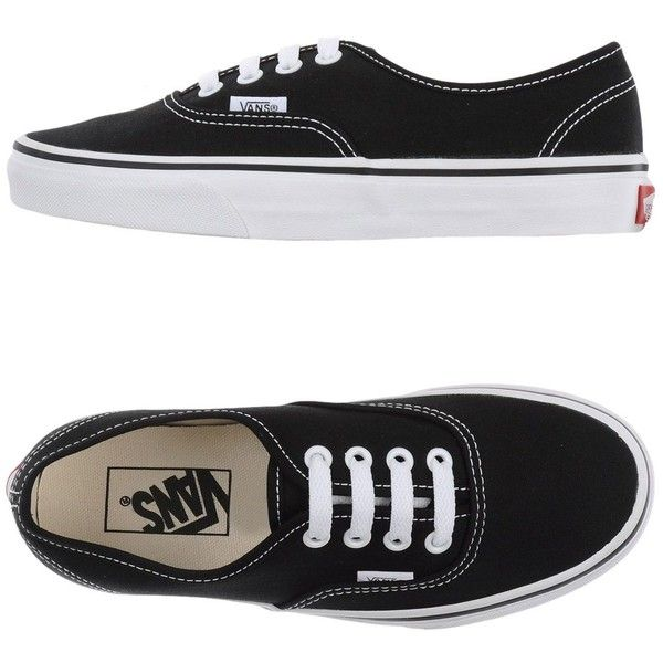 Vans Sneakers (£45) ❤ liked on Polyvore featuring shoes, sneakers, vans, black, black flat shoes, vans shoes, black trainers, vans trainers and flat shoes