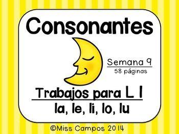 Consonantes - La Letra L l - ( la, le, li, lo, lu ) BUNDLE - Fichas, trabajos y rompecabezas para la letra L y las silabas la, le, li, lo, lu.   58 PAGINAS EN TOTAL
