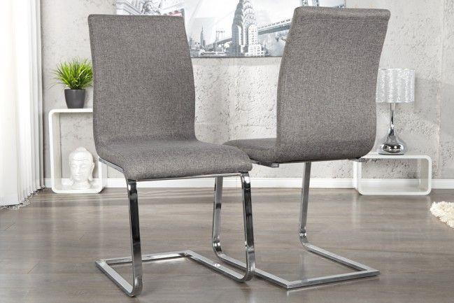 Eleganter Design Freischwinger HAMPTON Stuhl Strukturstoff grau