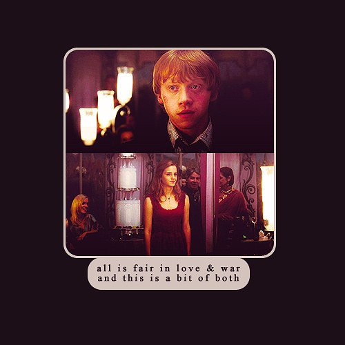 this was my all time favorite part in that movie. the way ron looks at hermione....its so adorable