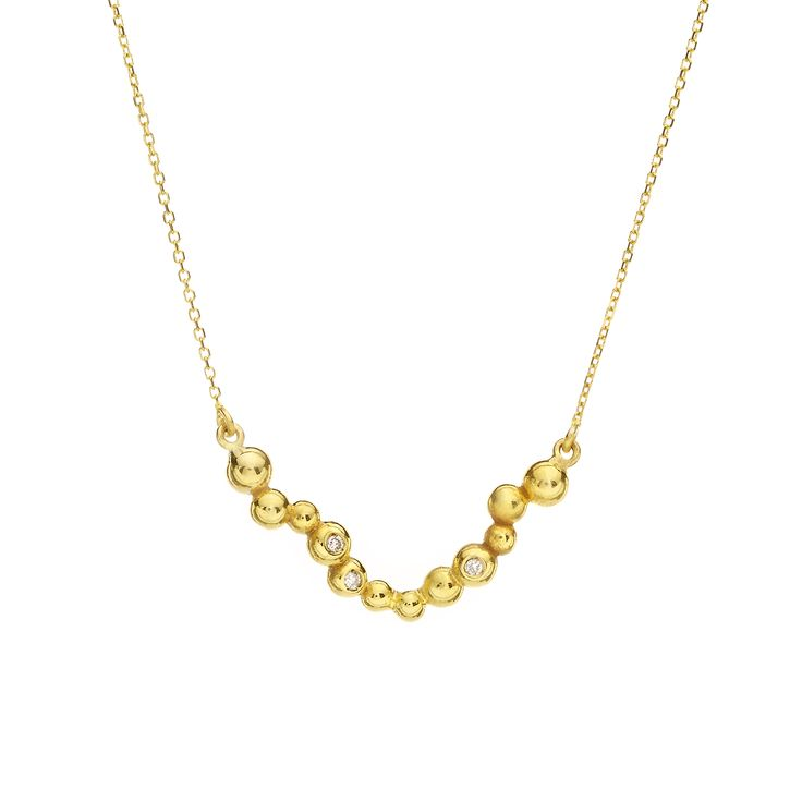 Yellow gold necklace with brilliants //  Dots Collection #huffyjewels www.huffyjewels.com