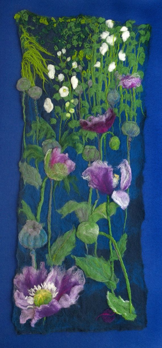 Items similar to Poppies - Felt Picture 930 x 370mm now mounted on white conservation board in a box frame of stained black wood on Etsy