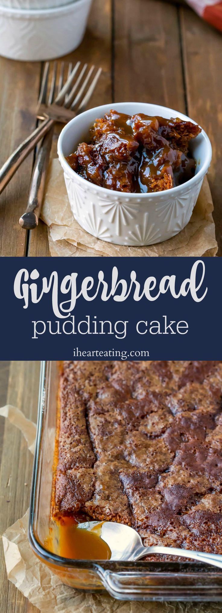 Gingerbread Pudding Cake is a moist apple gingerbread cake that makes its own caramel apple sauce while it bakes. Yummy Christmas dessert! #cakes #recipes #Christmas #gingerbread #desserts