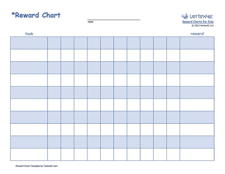 Free printable Reward Chart for Kids (PDF) from Vertex42.com