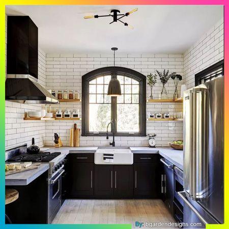 دولاب مطبخ أنيق بالأسود Interior Design Kitchen Farmhouse Kitchen Decor Kitchen Interior